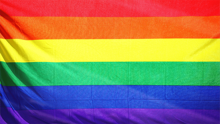 Close up of the rainbow Pride flag