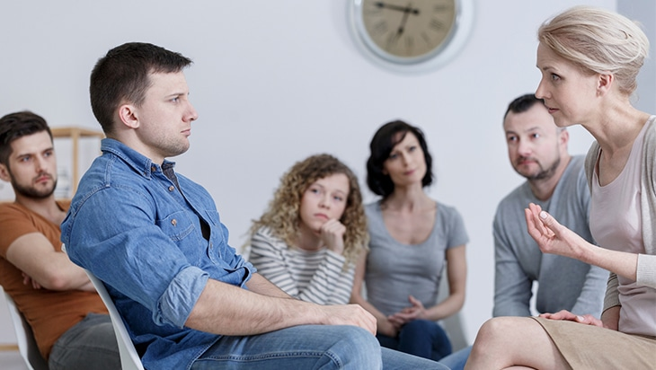 Group counselling session within a substance abuse treatment centre