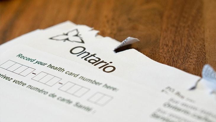 A blank OHIP form