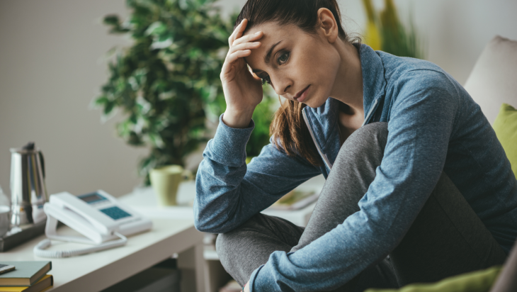 A woman worrying about relapsing