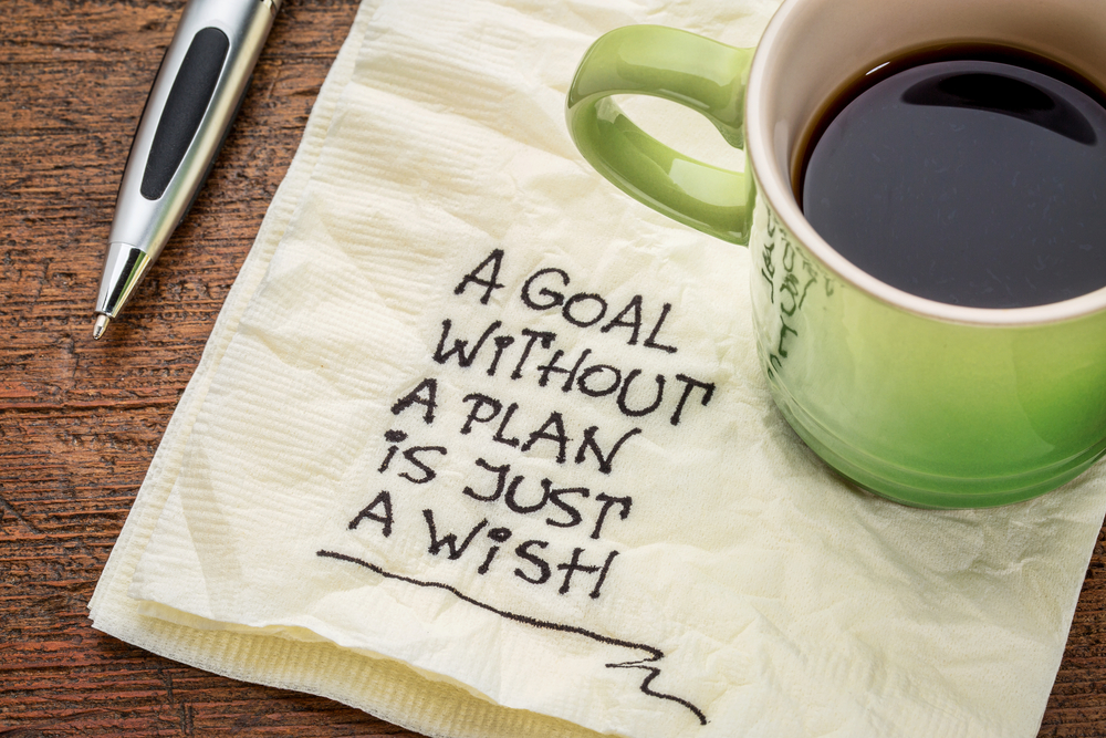 """A cup of coffee on top of a napkin that reads, """"A goal without a plan is just a wish."""