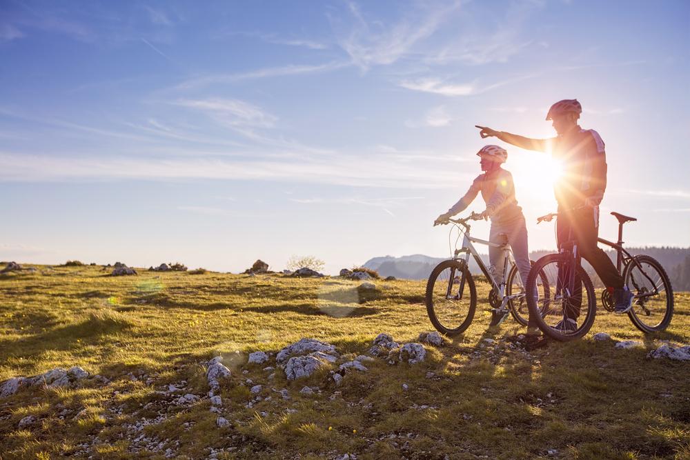 Couple on their bikes outdoor