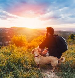 A man with his dog spending time outdoors